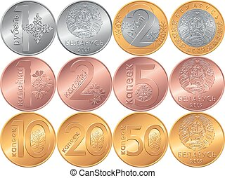 Set obverse and reverse new Belarusian Money coins - set of...
