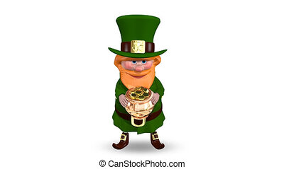 Saint Patrick Pot with Coins - Animation Saint Patrick Pot...