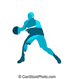 Basketball player with ball, blue isolated vector silhouette