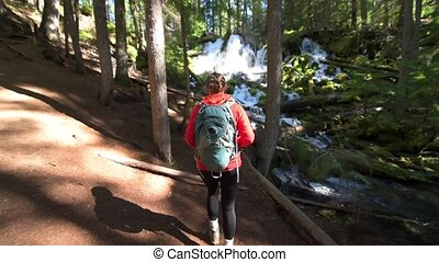 Hiker looking at Clearwater Falls Oregon - Oregon Tourist...