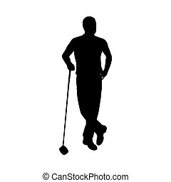 Standing golf player, vector silhouette