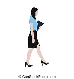 Walking business woman with documents in her hand, vector...