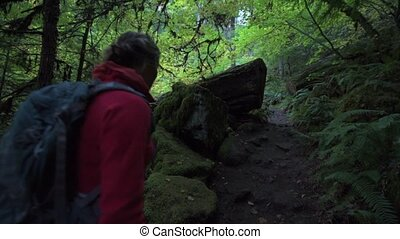 Backpacker on the Trail to Watson Falls Oregon - Watson...