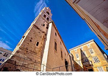 Church and stone square in Zadar, Dalmatia, Croatia