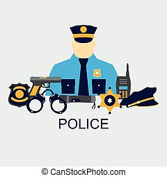 Vector color line set collection icons of police equipment vector illustration