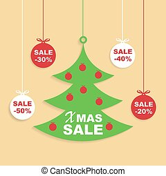 Christmas and New Year Sale Background, Discount Coupon...