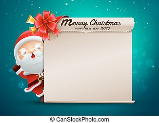 merry christmas happy new year card with santa claus