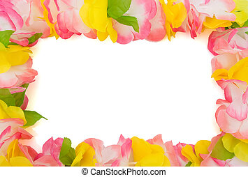Colorful lei isolated on white with copy space, happy...