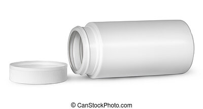 White plastic bottle for vitamins lying near lid isolated on...