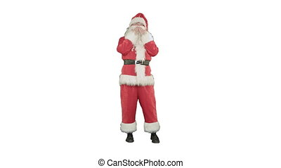 Santa sends a kiss in the form of the heart on white background