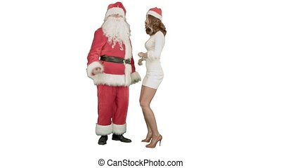 Christmas girl with santa claus dance on white background....