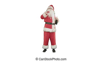 Santa wishing merry Christmas and drinking champagne on...
