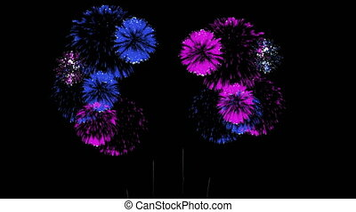 3D Render 4K. Computer Graphic. Multiple Fireworks. Sharp Vibrant Clean Firework Display. Ver. 28