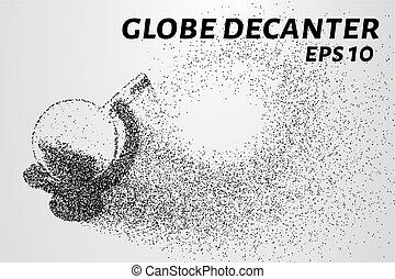Decanter globe of the particles. The globe consists of dots...