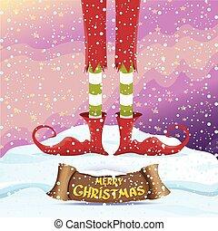 vector merry christmas card with cartoon elfs - vector...