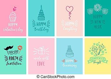 Celebration cards, vector set