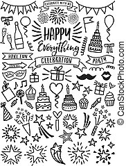 Celebration, party, birthday, vector set