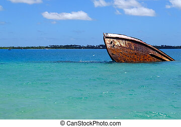 Shipwreck off the coast of Pangaimotu island near Tongatapu...