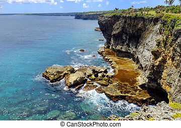 Cliffs on the southern shore of Tongatapu island in Tonga....