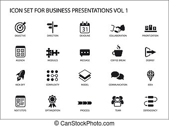Reusable generic vector icon set for business presentations...