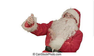 Santa Claus take a selfie on white background. Professional...