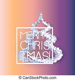 Snow frame with Merry Christmas text.. Winter frame...