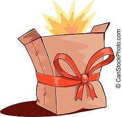 Burst out of box. - Bursting paper box with red ribbon bow...