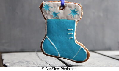 santa Claus boot on rustic wooden table - Beautiful...