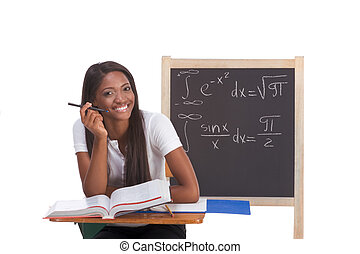 Black college student woman studying math exam - Happy...