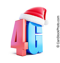 4G sign Santa Hat, 4G cellular high speed data wireless connection. 3d Illustrations on white background