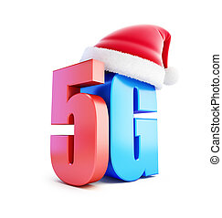 5G sign Santa Hat, 5G cellular high speed data wireless connection. 3d Illustrations on white background