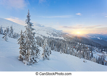 majestic sunset in the winter mountains landscape