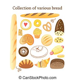 Vector set of different bread