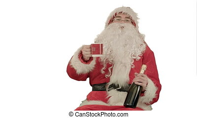 Santa Claus celebrating champagne on white background....