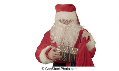 Santa Claus Packaging Gifts on white background....