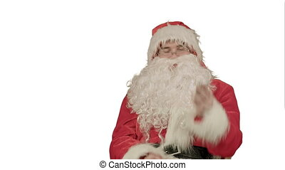 Santa Claus calling with a mobile phone on white background....