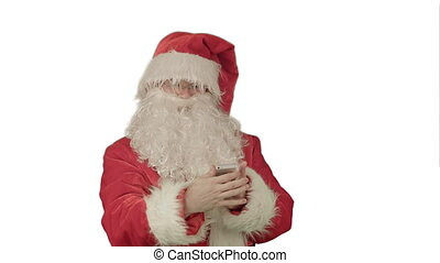 Santa talking on his cellphone with a surprised look on his face. on white background