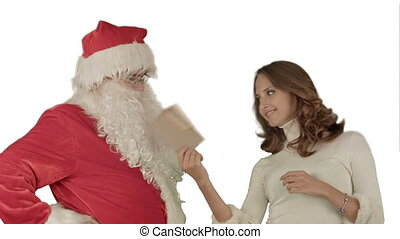 Happy Santa Claus with his woman helper reading Christmas letter or wish list on white background