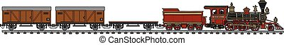 Classic american steam train - Hand drawing of a vintage...