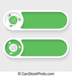 Set of two vector abstract buttons and green energy icon