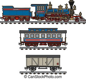 Old american steam train - Hand drawing of a classic...