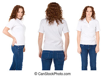 Young redhead woman in white polo shirt and jeans Multiple...