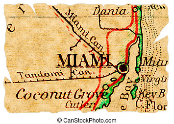 Miami old map - Miami, Florida on an old torn map from 1949,...