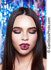 Woman with beautiful make-up  shiny glitter