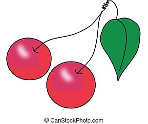 A pair of red ripe cherries on the fruit stems with green...