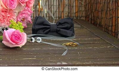 wedding accessories: bouquet, boutonniere, bowtie , ring,...