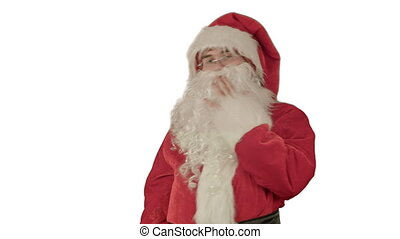 Santa Claus dancing in costume on white background....