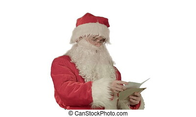 Santa Claus reading letters from children on white background