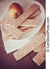 honey and crispbread - wheat crisps with honey; healthy...