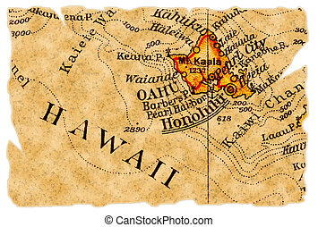 Honolulu old map - Honolulu, Hawaii on an old torn map from...